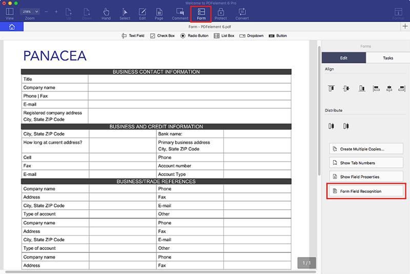 Reconocimiento de campos de formulario en mac