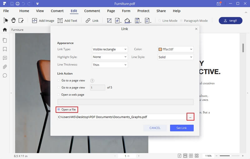 create hyperlink in pdf