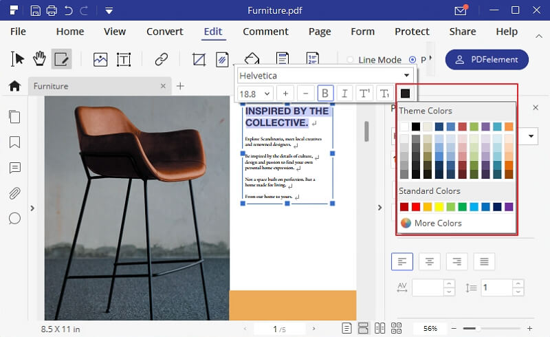 pdf font color change online
