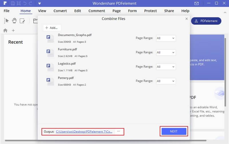 creazione pdf da più file