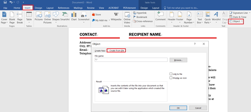 embed pdf in word document