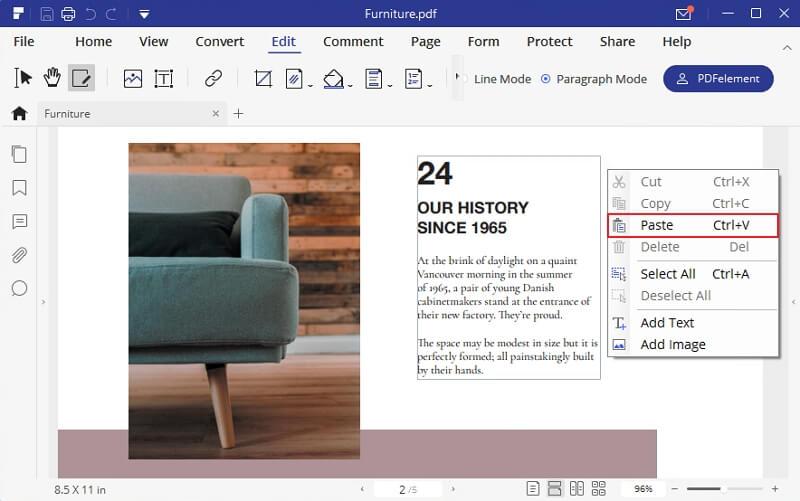 paste picture into pdf
