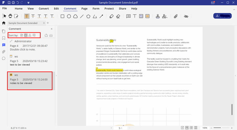 how to show comments in pdf