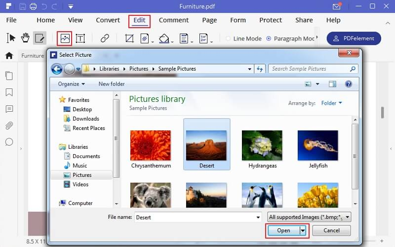 how to insert image in pdf