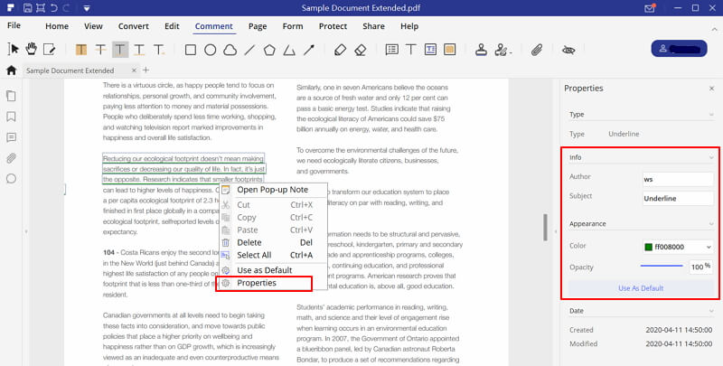 how to underline text in pdf