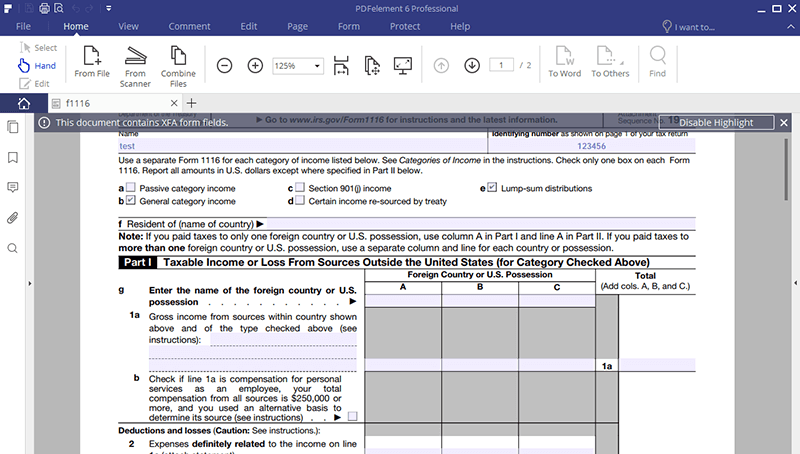 Irs Form 1116 The Best Form Filler To Fill It Wondershare Pdfelement