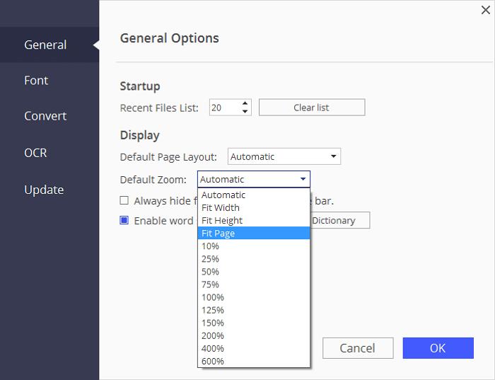 change pdf default zoom