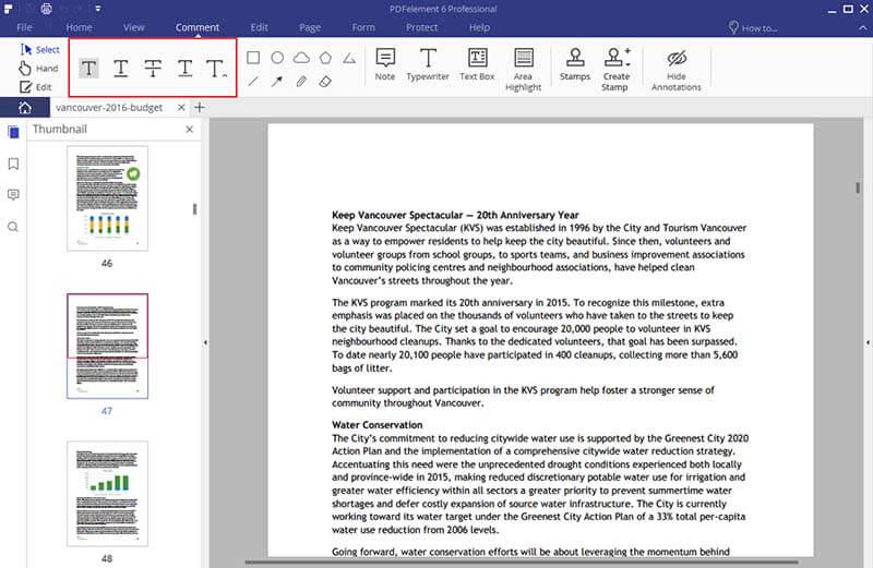 underline pdf
