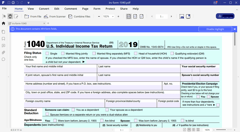 Irs Form 1040 How To Fill It Wisely Wondershare Pdfelement
