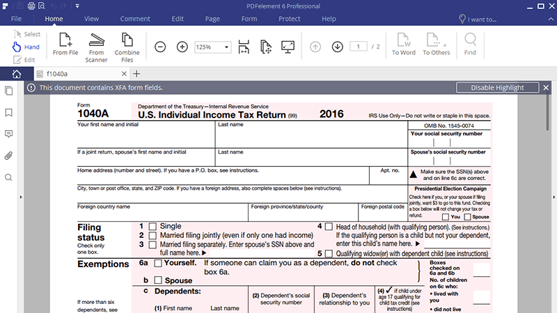 Irs Form 1040a The Filling Instructions You Should Never Miss