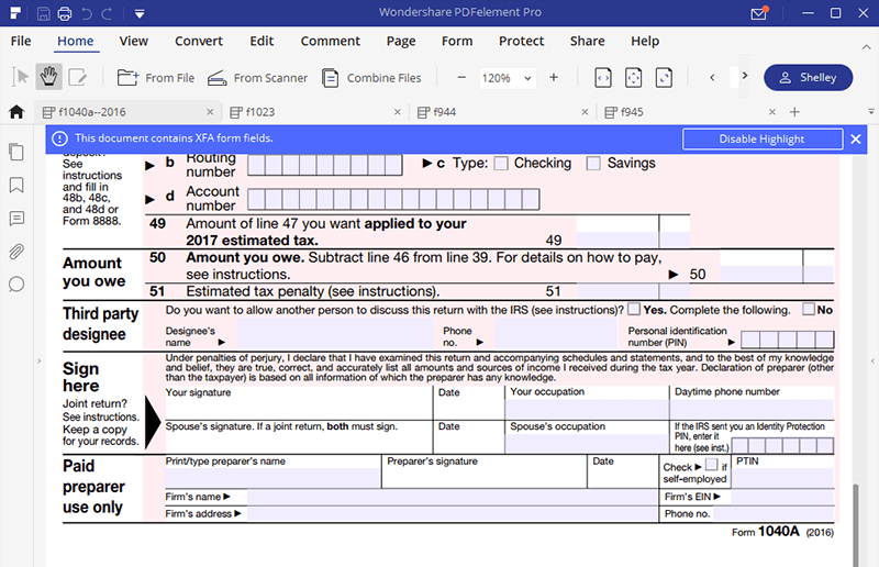 irs form 1040a