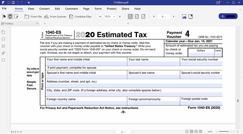 Irs Form 1040 Es Pdfelement To The Rescue Wondershare Pdfelement