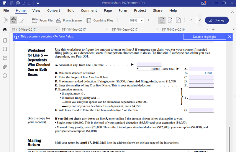 Irs Form 1040ez Learn To Fill It Right Wondershare Pdfelement