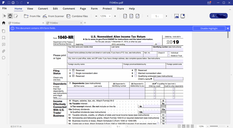 irs form 1040nr instructions