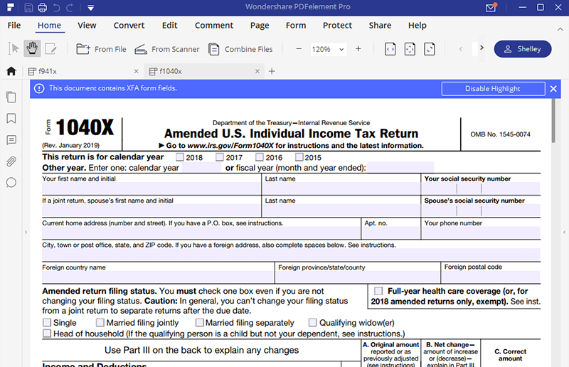 irs form 1040x: fill it to amend your income tax return