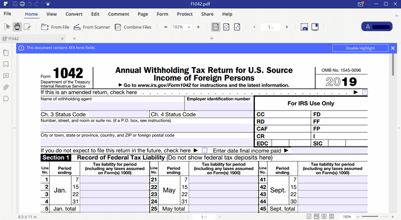 Irs form 1042 fill it with pdfelement instruction for irs form 1042 falaconquin