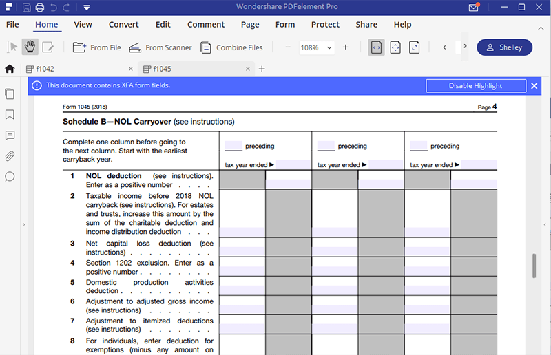 irs form 1045 instructions