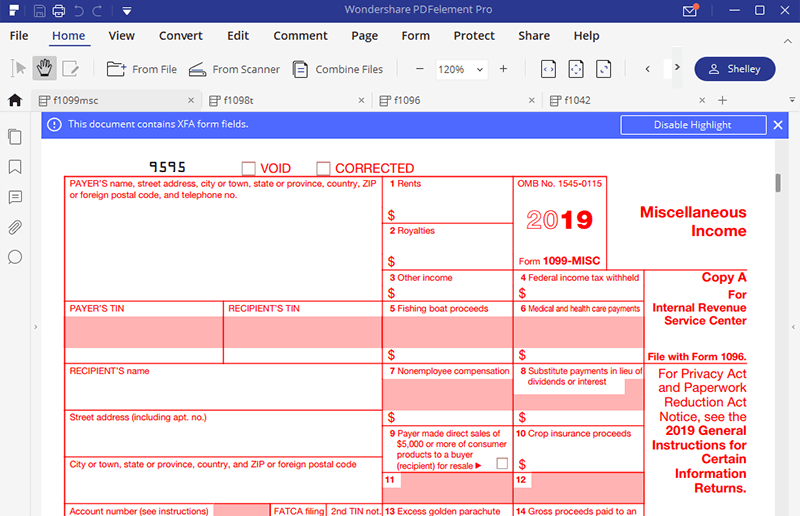 Irs Form 1099 Misc How To Fill It Right Wondershare Pdfelement