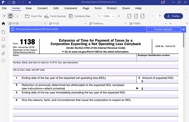 irs form 1138 instructions
