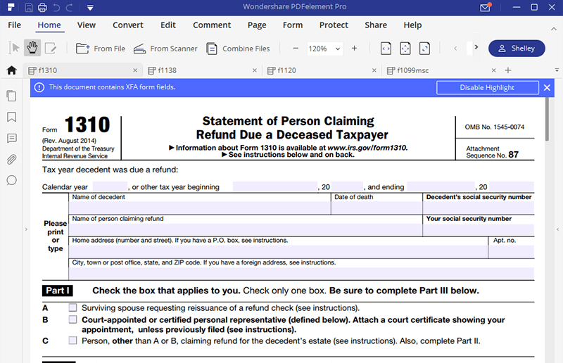 irs form 1310 instructions