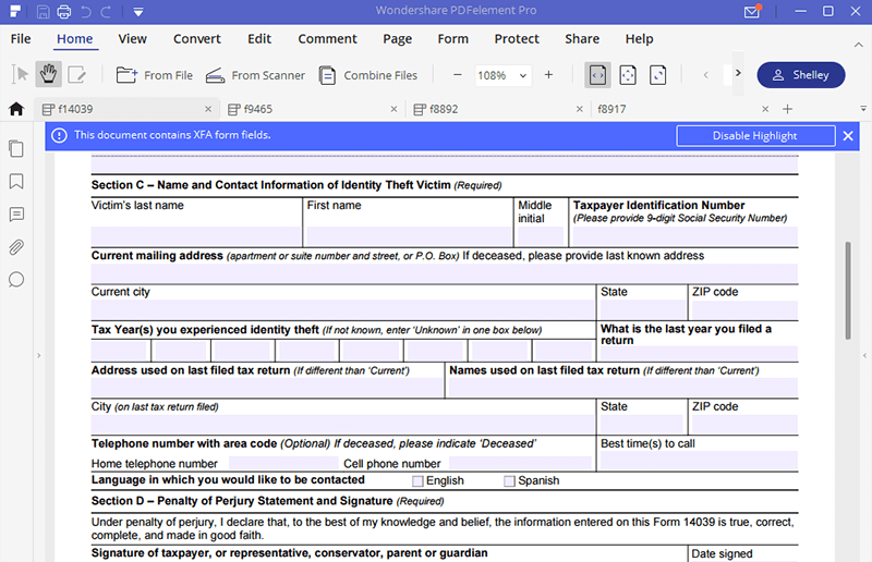 Irs Form 14039 How To Fill It With The Best Form Filler