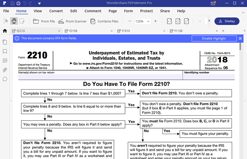 Irs Form 2210 Fill It With The Best Form Filler Wondershare