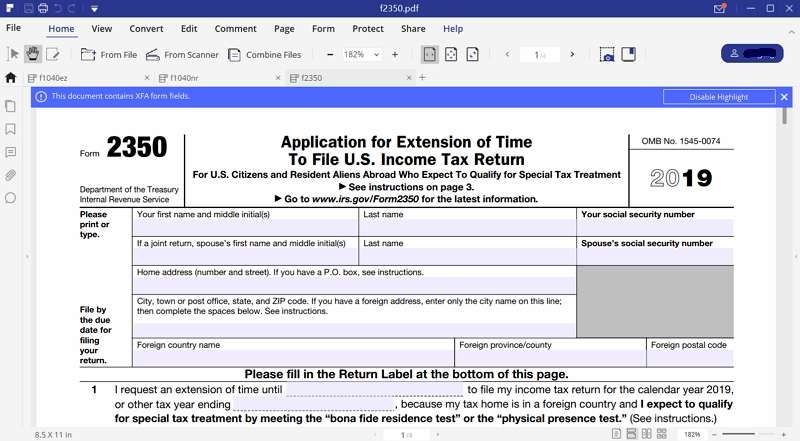 irs form 2350 instructions