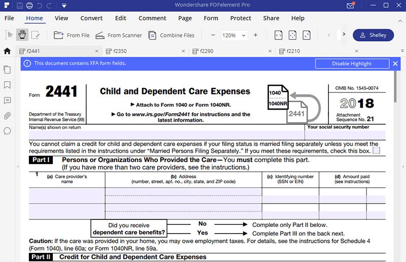 fill form 2441 part 1