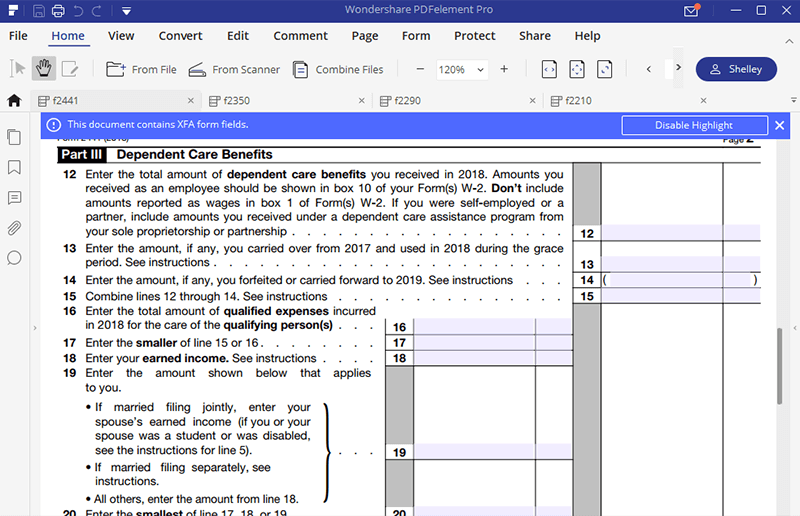 Instructions For How To Fill In Irs Form 2441 Wondershare Pdfelement