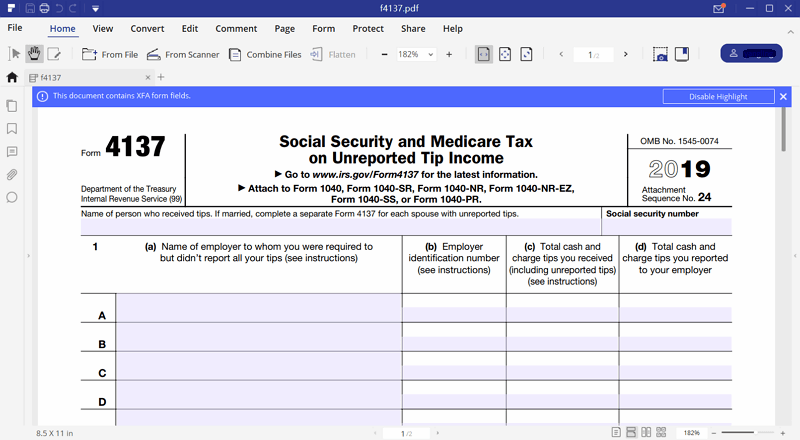 instruction for irs form 4137