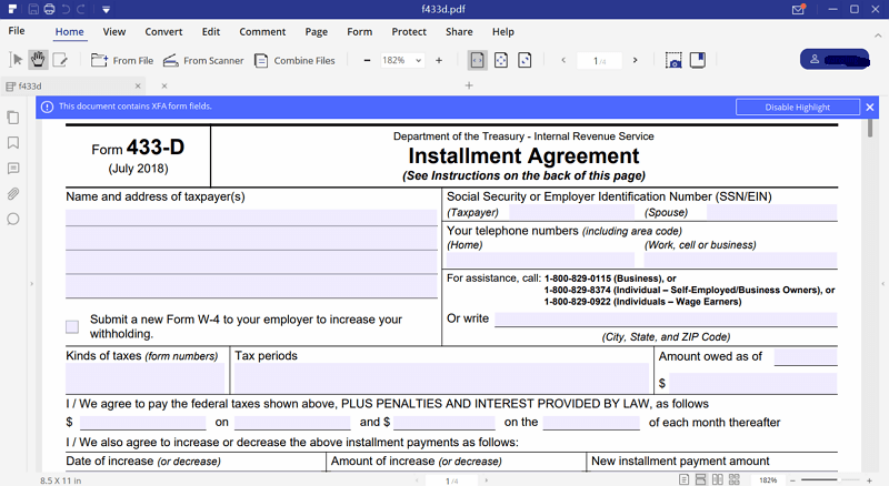 Irs form 433 d fill out with pdfelement instructions for irs form 433 d falaconquin