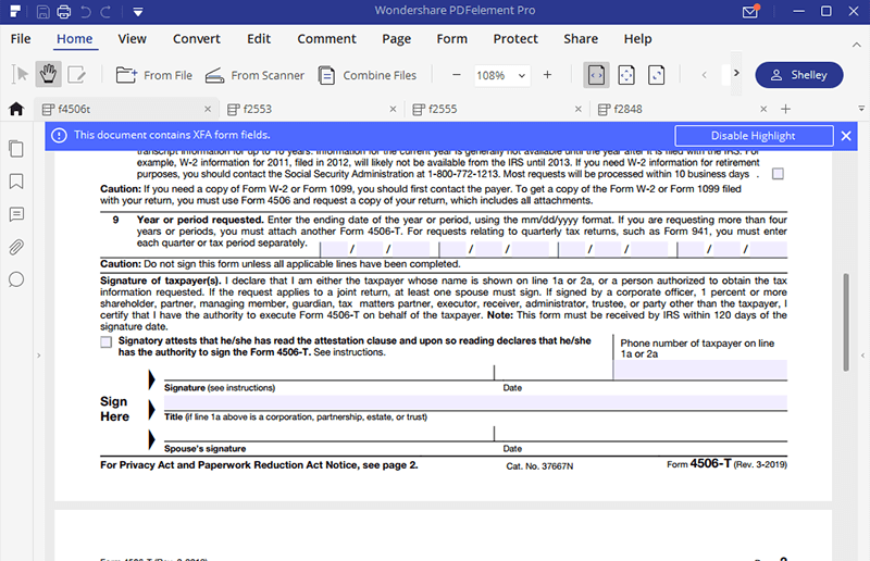 irs form 4506-t: filling forms made easy by pdfelement | wondershare