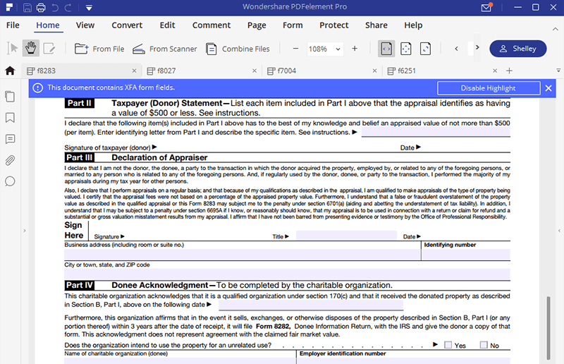 Instructions For How To Fill In Irs Form 8283 Wondershare Pdfelement