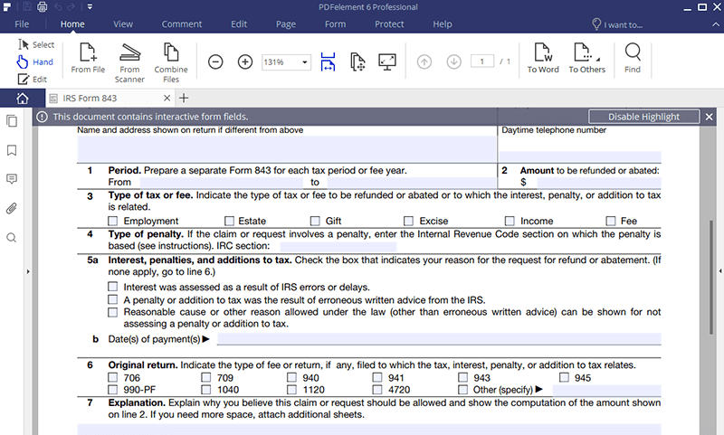Irs Form 843 Fill It Right The First Time Wondershare Pdfelement