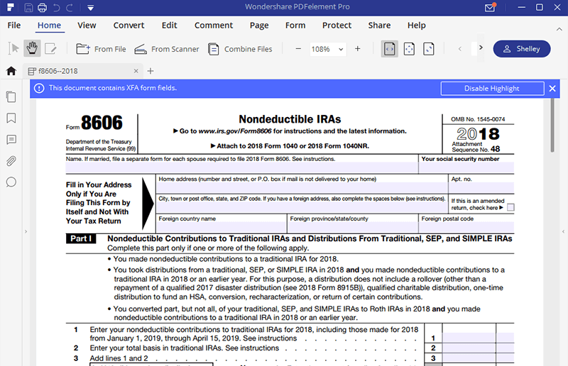 Instructions for how to fill in irs form 8606 fill form 8606 part 1 falaconquin