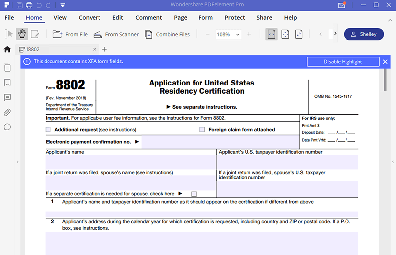 irs form 8802: how to fill it right | wondershare pdfelement