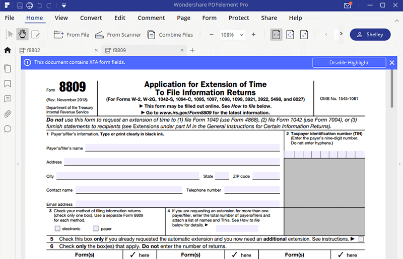 Irs Form 8809 Easy Way To Fill It Out Wondershare Pdfelement