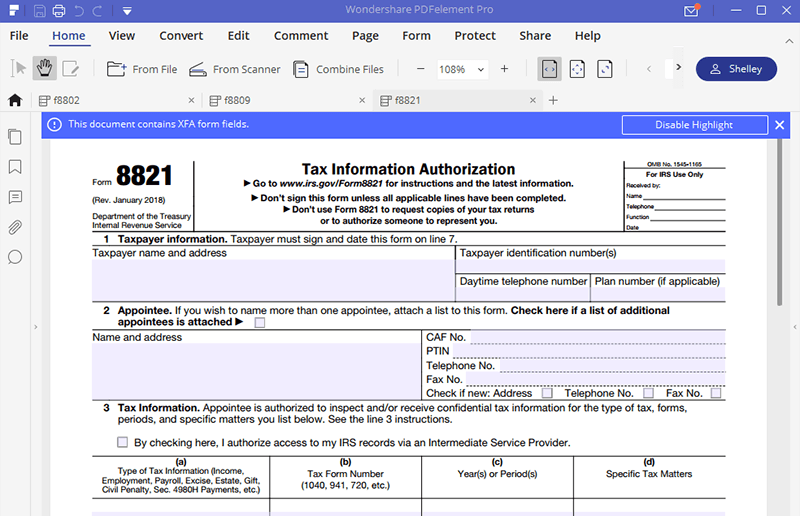 Irs Form 8821 Fill It Out With The Best Program Wondershare