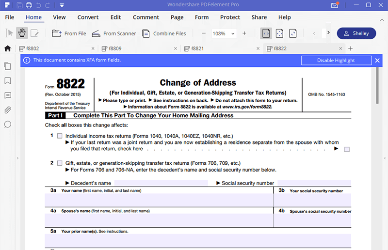 Irs Form 8822 The Best Way To Fill It Wondershare Pdfelement