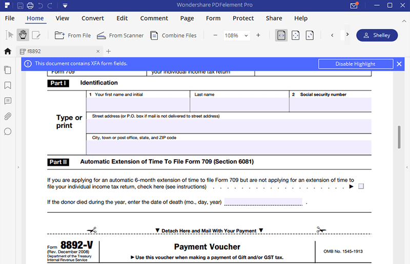 Irs Form 8892 Complete This Form With Pdfelement Wondershare
