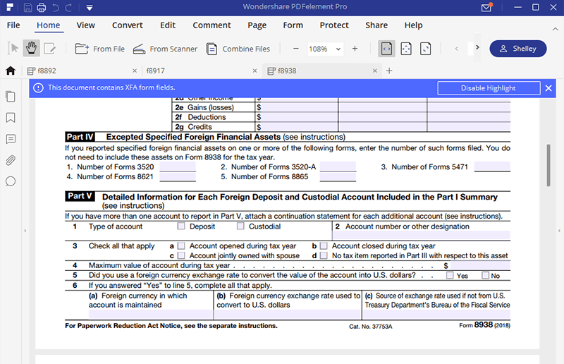 Irs form 8938 how to fill it with the best form filler irs form 8938 falaconquin