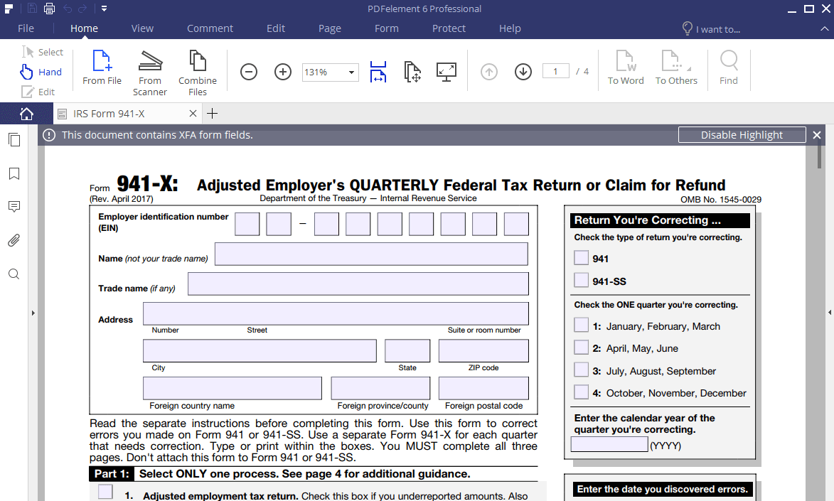 IRS Form 941-X: Learn How to Fill it Easily | Wondershare