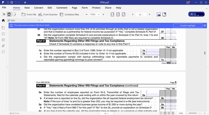 Irs form 990 let pdfelement help fill form 990 part 5 falaconquin