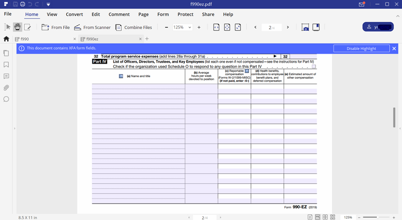 fill out irs form 990-ez