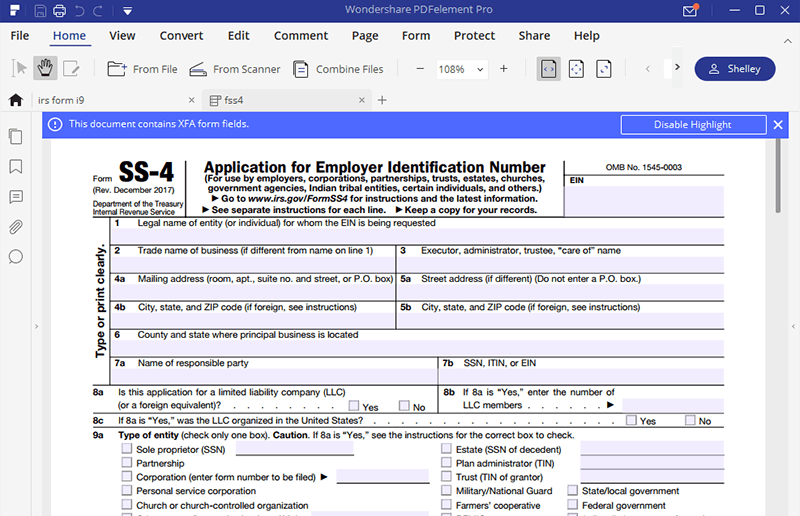 instructions for how to fill in irs form ss-4 | wondershare pdfelement