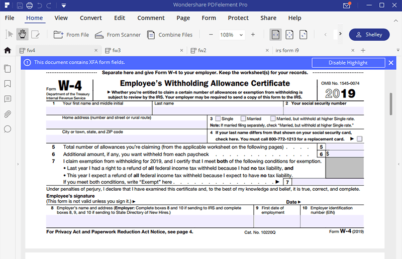 Irs Form W 4 Follow The Instructions To Fill It Wondershare