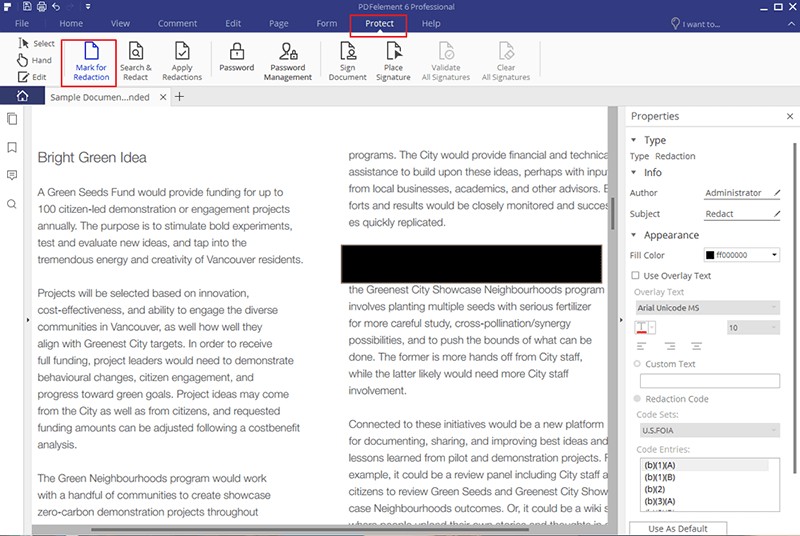 how to hide text in pdf document