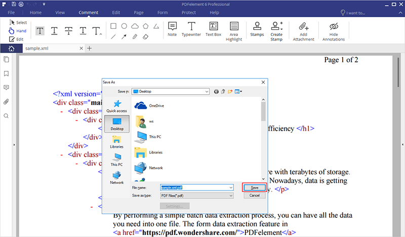 How to Convert XML to PDF for Windows | Wondershare PDFelement