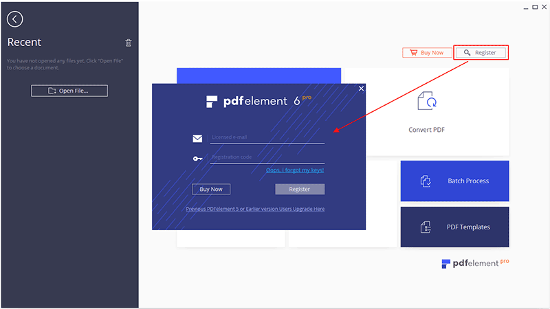 register pdfelement for windows