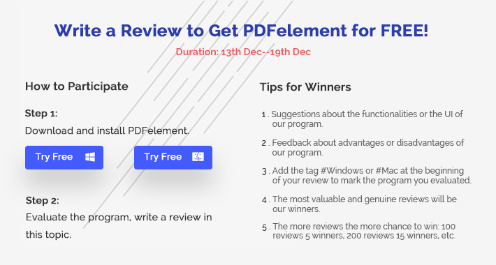 Write a Review to Get PDFelement for FREE!
